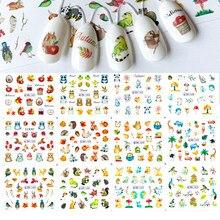 12 スタイル動物シリーズ水転写ネイルステッカーパンダリス象フクロウ漫画のパターンマニキュア装飾スライダー