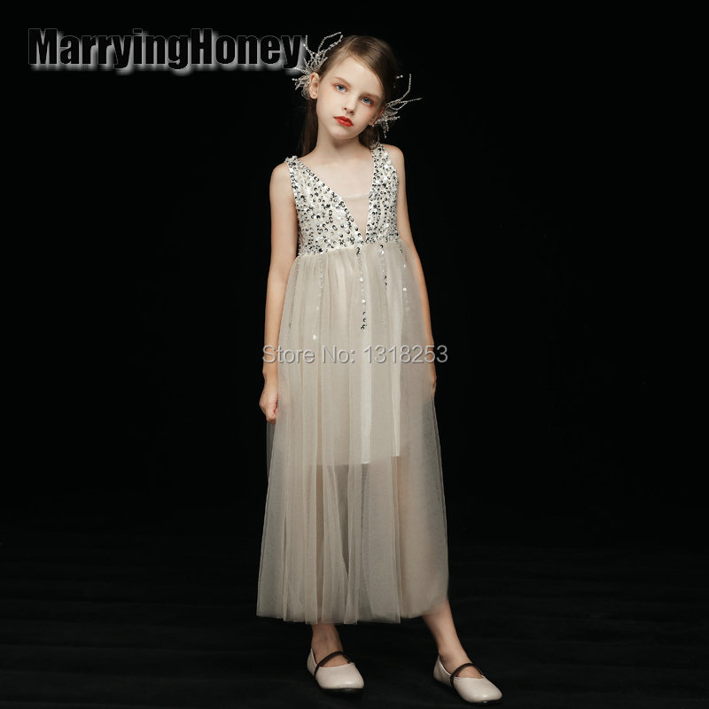 Charming see through V Neck Crystal   Flower     Girls     Dresses   Princess Weddings Pageant   Dresses   Ruffled Organza   Girl   Party   Dress