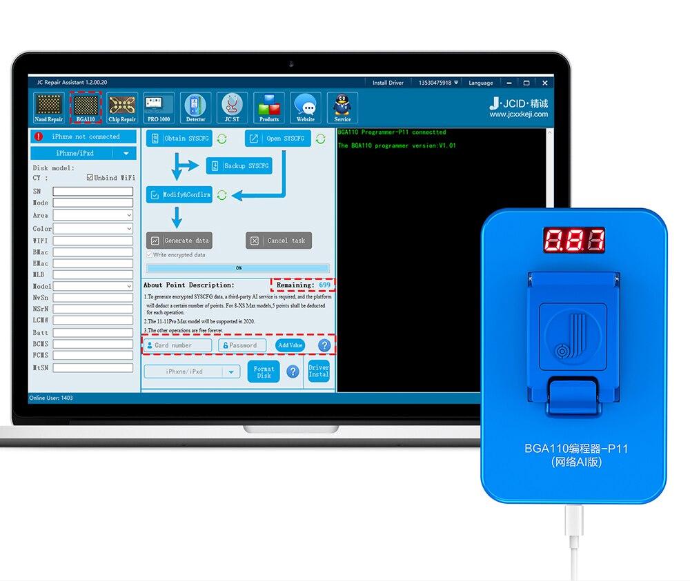 PHONEFIX New VIP Card 300 Credit Points For JC P11 P11F BGA110 Programmer Nand Flash Underlying Data Write