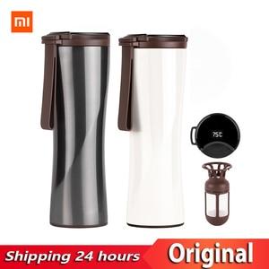 Image 1 - Capteur de température sensible de bouteille deau de vide thermique dacier inoxydable de poisson de baiser Original de Xiaomi avec le brasseur de café