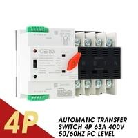 110V/220V Automatic Transfer Switch Power 110V AC 2P/3P 63A 4P 63A 400V AC 50/60Hz PC Level Dual Electrical Equipment Supplies