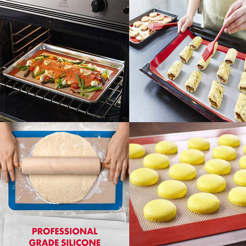 Silicone Baking Mats Sheet Pizza Dough Non-Stick Pan Baking Tray Pastry Kitchen Gadgets Cooking Tools Bakeware Accessories title=