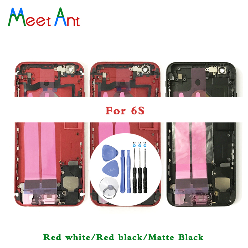 For Iphone 6 6G Or 6S Back Middle Frame Chassis Full Housing Assembly Battery Cover Door Rear With Flex Cable + Tool