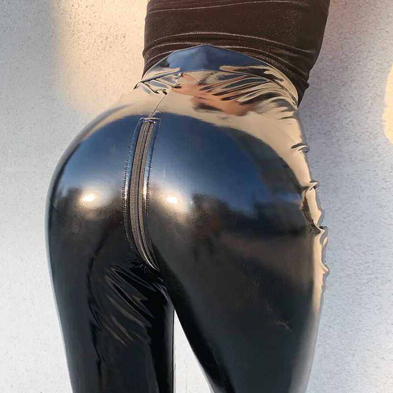 Frauen Hohe Taille Stretch Pu Leder Hosen Öffnen Gabelung Leggings Push-Up Sexy Wet Look PVC Faux Hosen ZIPPER Zurück streetwear