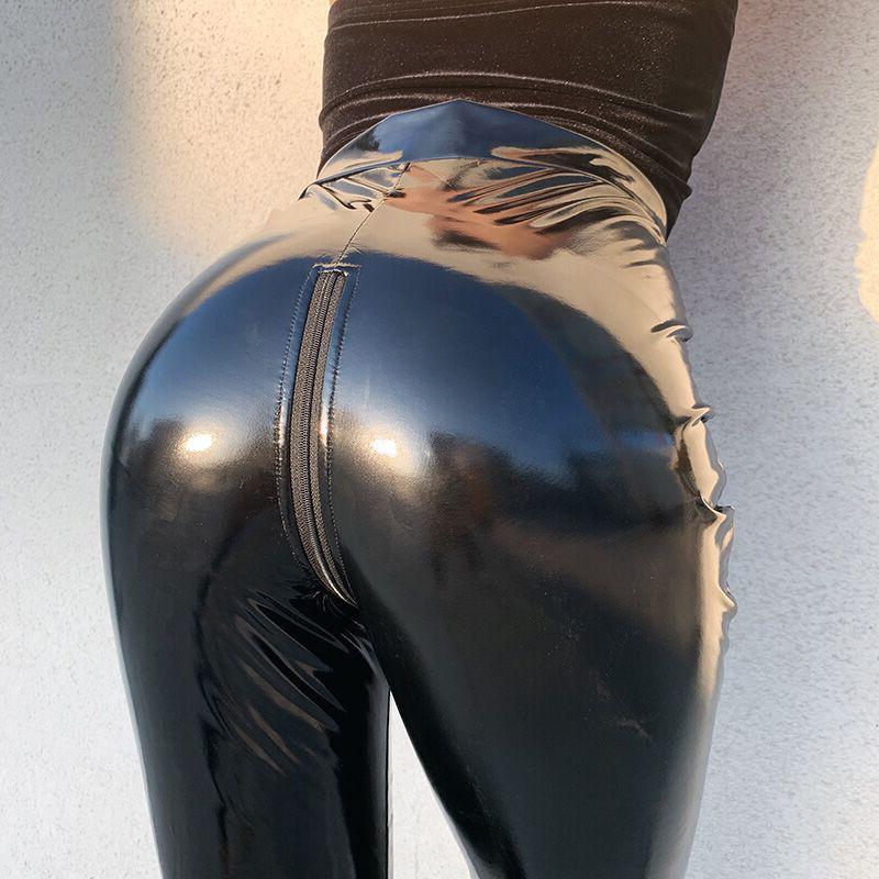 Women High Waist Stretch Pu Leather Pants Open Crotch Leggings Push Up Sexy Wet Look PVC Faux Trousers ZIPPER Back Streetwear