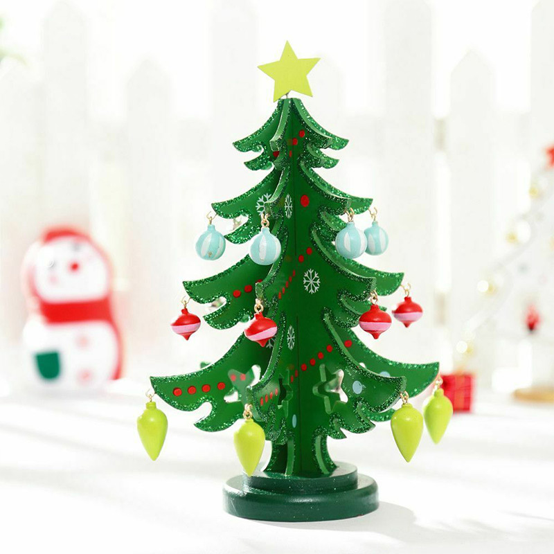 Home Christmas Ornament Pendant Decor Crafts 3D Wooden Assembling Christmas Tree Home Bedroom Decor VJ-Drop