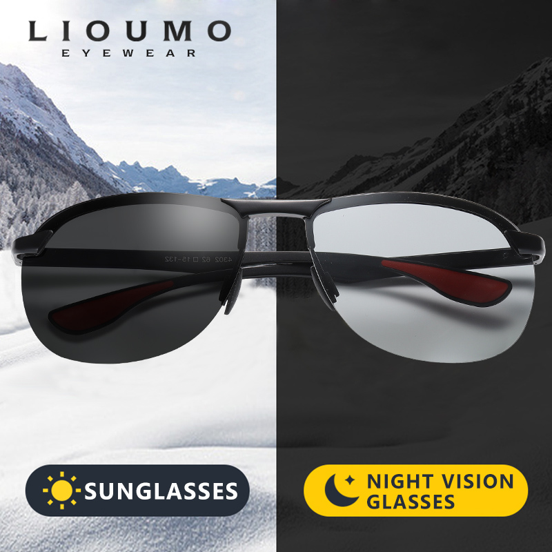 2020 Photochromic Polarized Sunglasses Men HD Goggle Driving Sun Glasses Women Aluminum Magnesium Frame Lentes De Sol Hombre