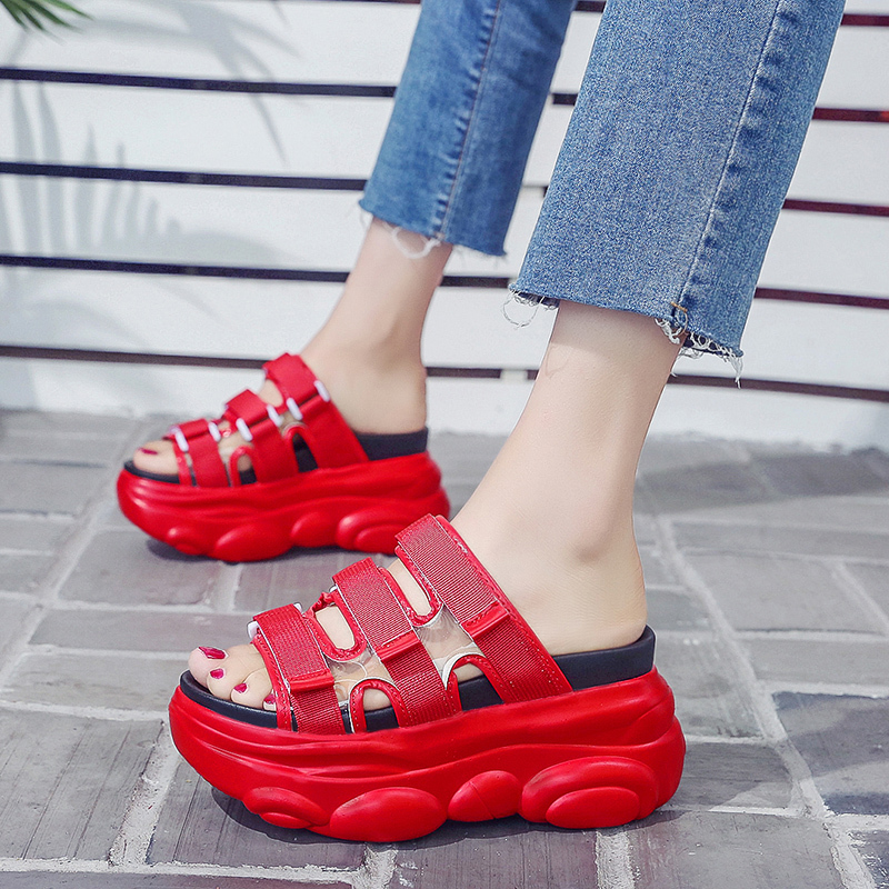 9cm/3.5 inch Height Big Size <font><b>Shoes</b></font> for <font><b>Women</b></font> Wedge Slippers Fashion <font><b>Shoes</b></font> Woman Flat Platform Thick Bottom Summer image