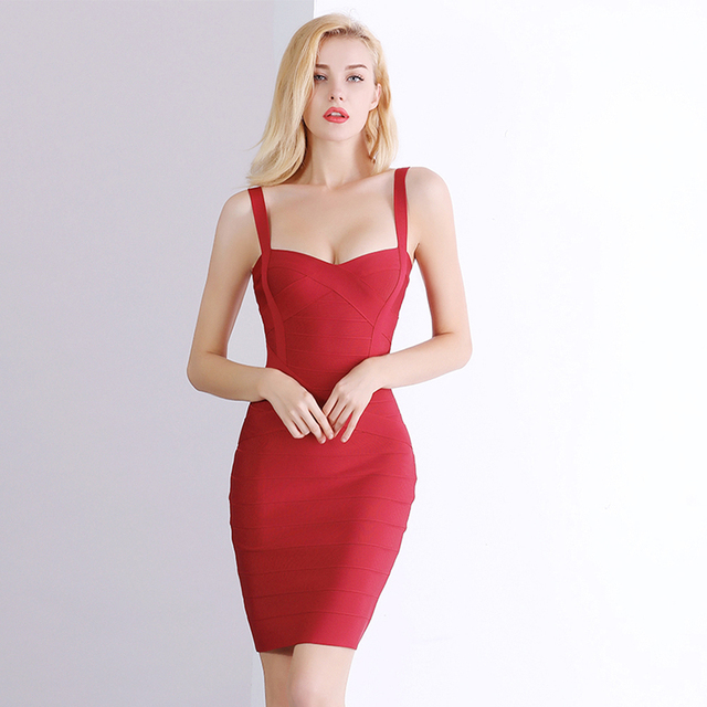 2021 New Women Sexy Spaghetti Strap Rayon HL Elastic Celebrity Bandage Dress Bodycon Mini Club Evening Party Dresses Drop Ship 5