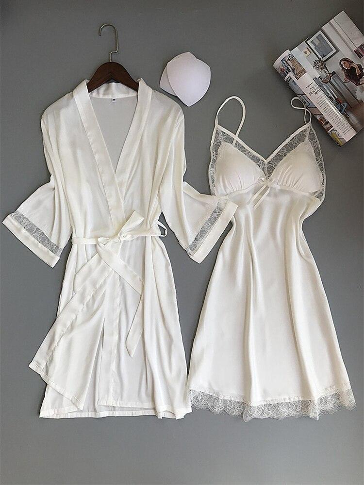 Rayon Kimono Nightwear Sleepwear Wedding-Robe-Set Bathrobe White Bridesmaid Home-Clothes