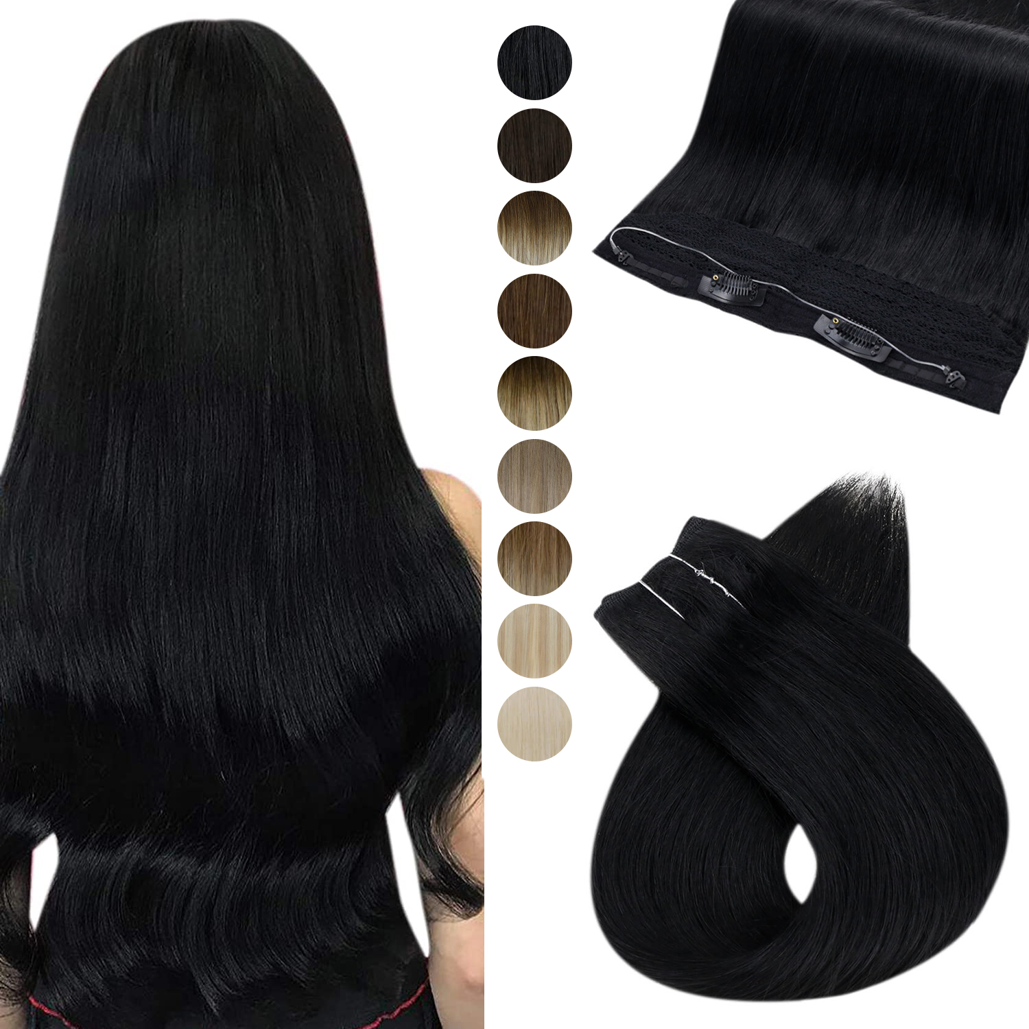 [Free Wire] Ugeat Halo Extensions Human Hair 10in Width Hidden Crown Hair Extensions Invisible One Piece Fish Wire Hair