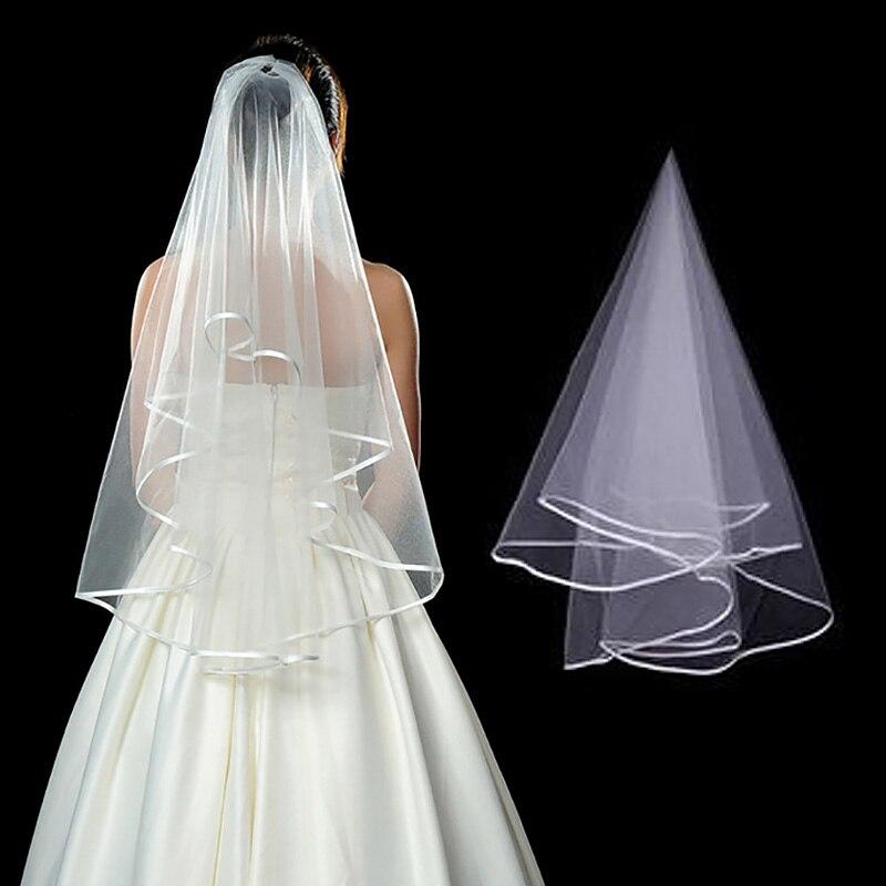 Women 80cm Bridal Short Wedding Veil White One Layer Lace Flower Edge Appliques