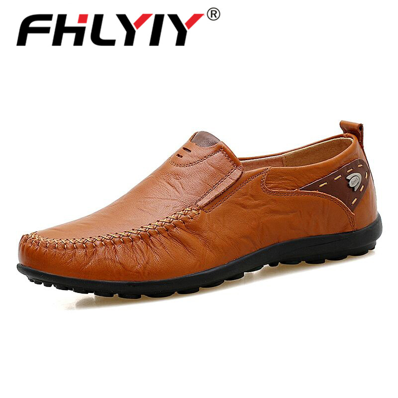 Fhlyiy Hot Sale Leather Men Shoes Casual Flat Men Shoes Waterproof Breathable Loafers Male Moccasins Driving Shoes Big Size 47