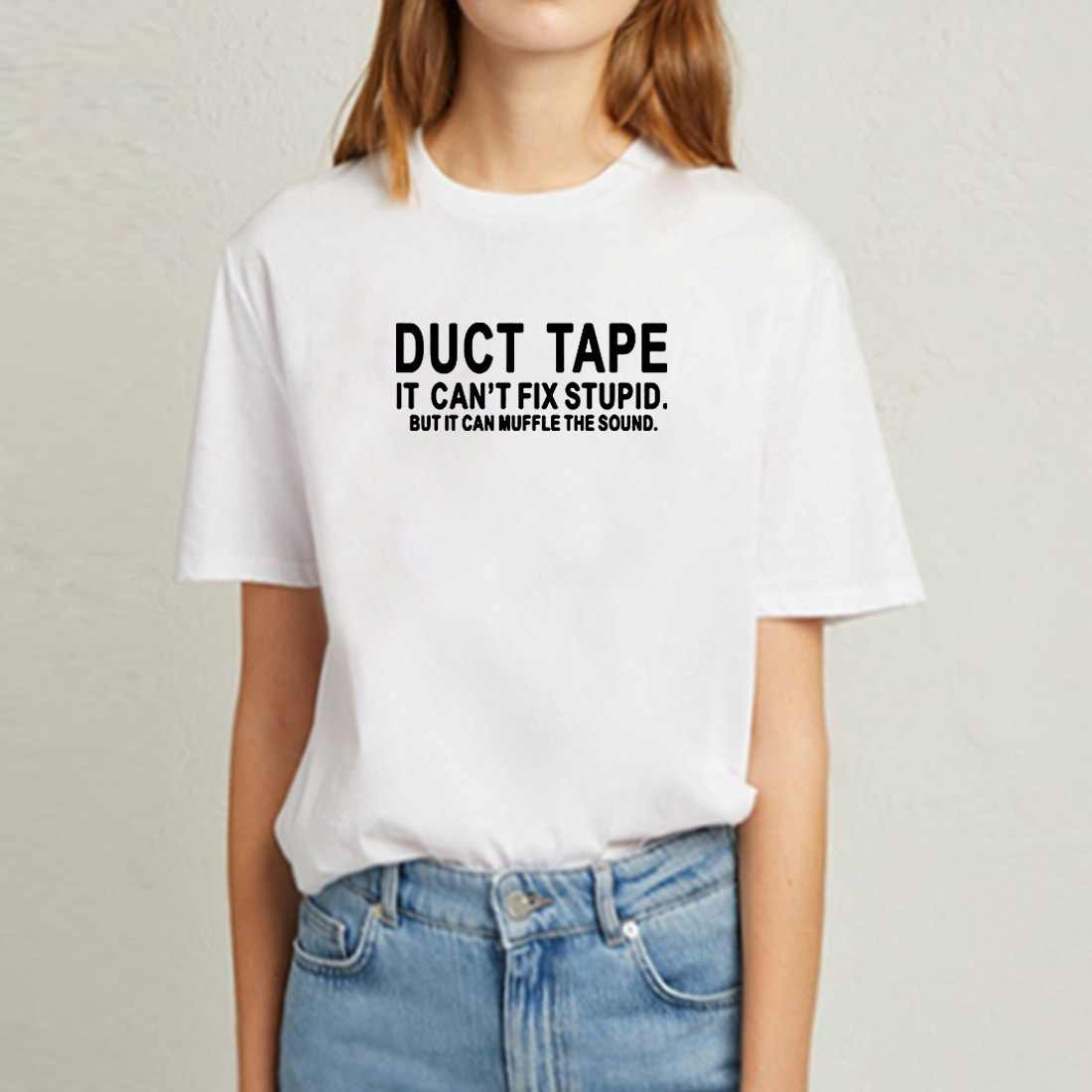 Duct Tape It Can't Fix Stupid divertidas camisetas para mujeres Top o-cuello manga corta Camiseta de algodón Femme negro blanco camiseta mujeres
