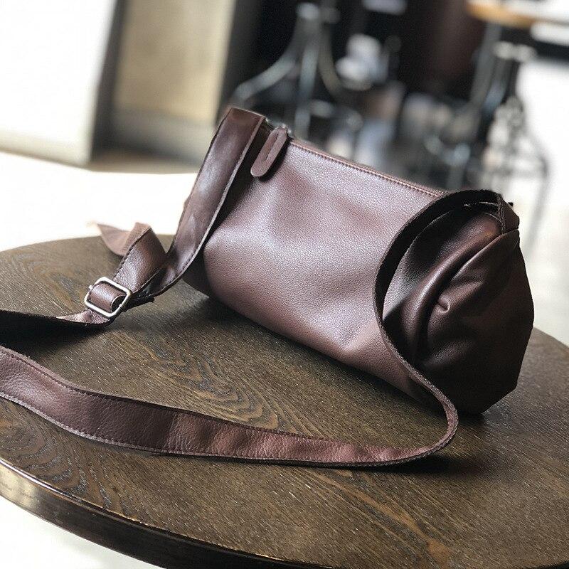 Vintage sac à bandoulière femmes en cuir véritable sac à bandoulière mode baril en forme de sacs doux rabat sacs de voyage travail baguette décontracté
