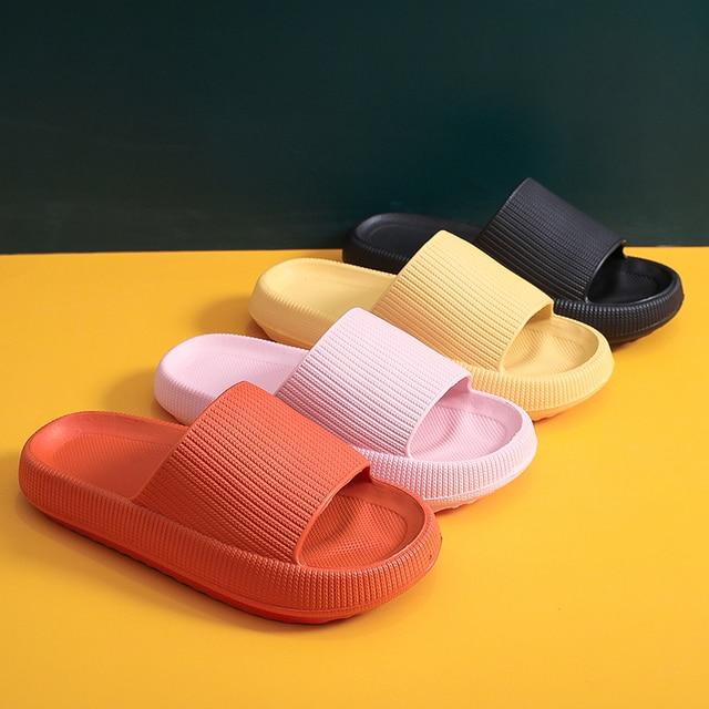 Mulheres chinelos de plataforma grossa verão praia eva sola macia sandálias de corrediça lazer masculino senhoras interior banheiro anti-deslizamento sapatos 3