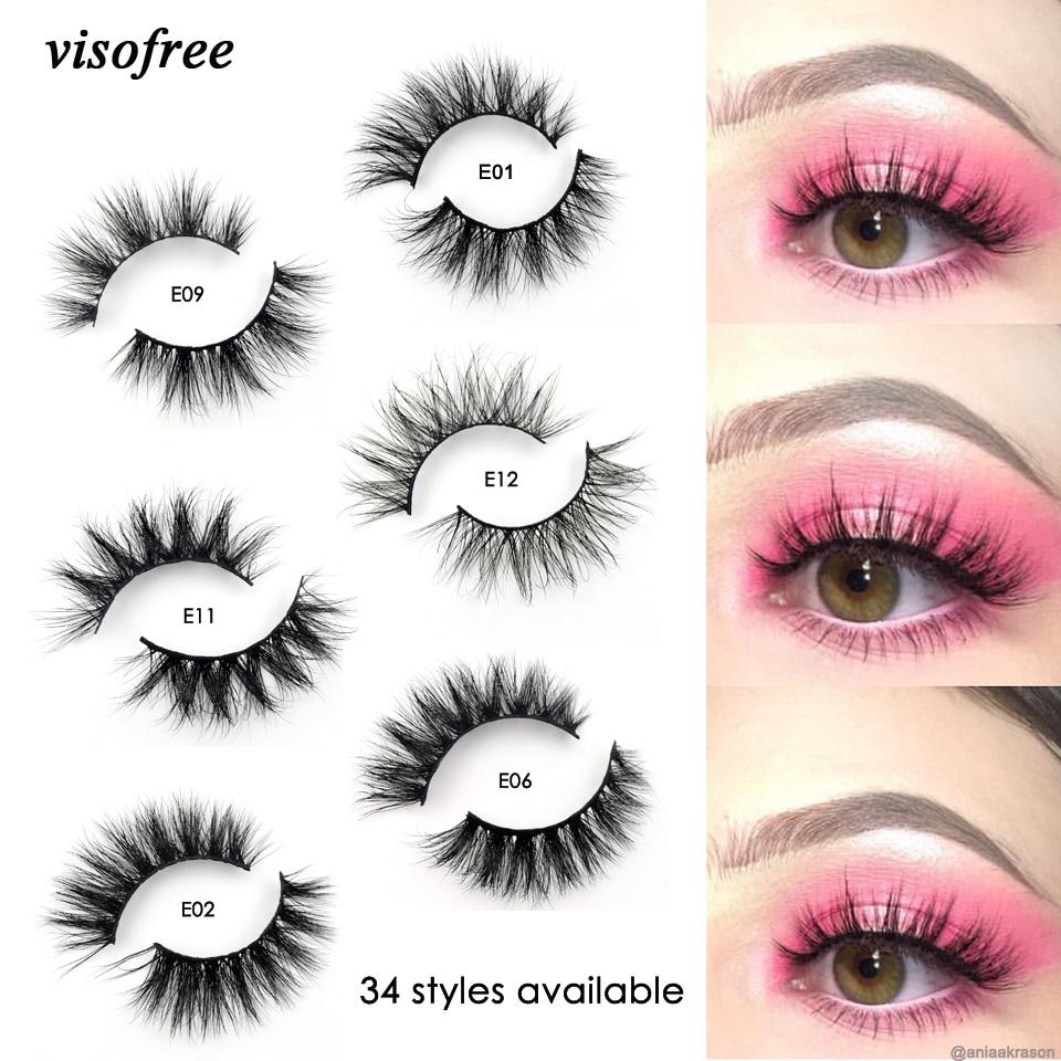 Visofree Mink Lashes 3D Mink Eyelashes 100% Cruelty free Lashes Handmade Reusable Natural Eyelashes Popular False Lashes Makeup(China)