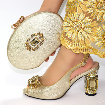 Gold 2020 New Italian Slipper With Matching Bag Set For Party African Style Woman Pumps Shoes And Bags Set for Wedding
