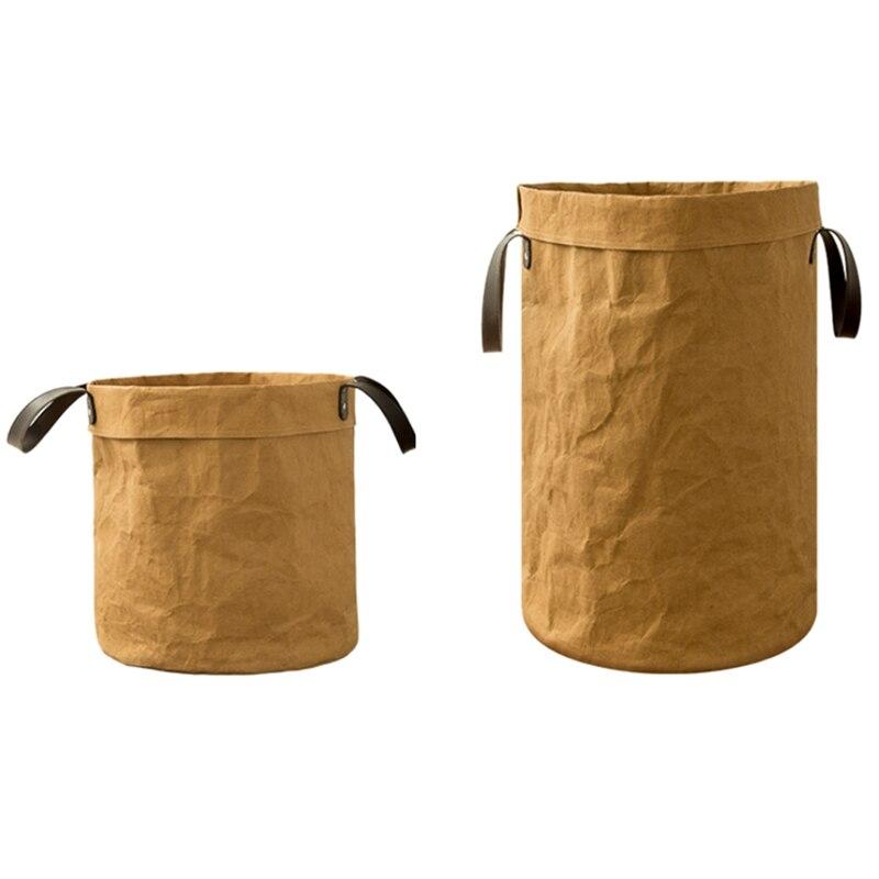 Large Kraft Paper Bag Picnic Storage Basket Multifunction Home Storage Organization Bin Durable Kids Toy Storage Organizer