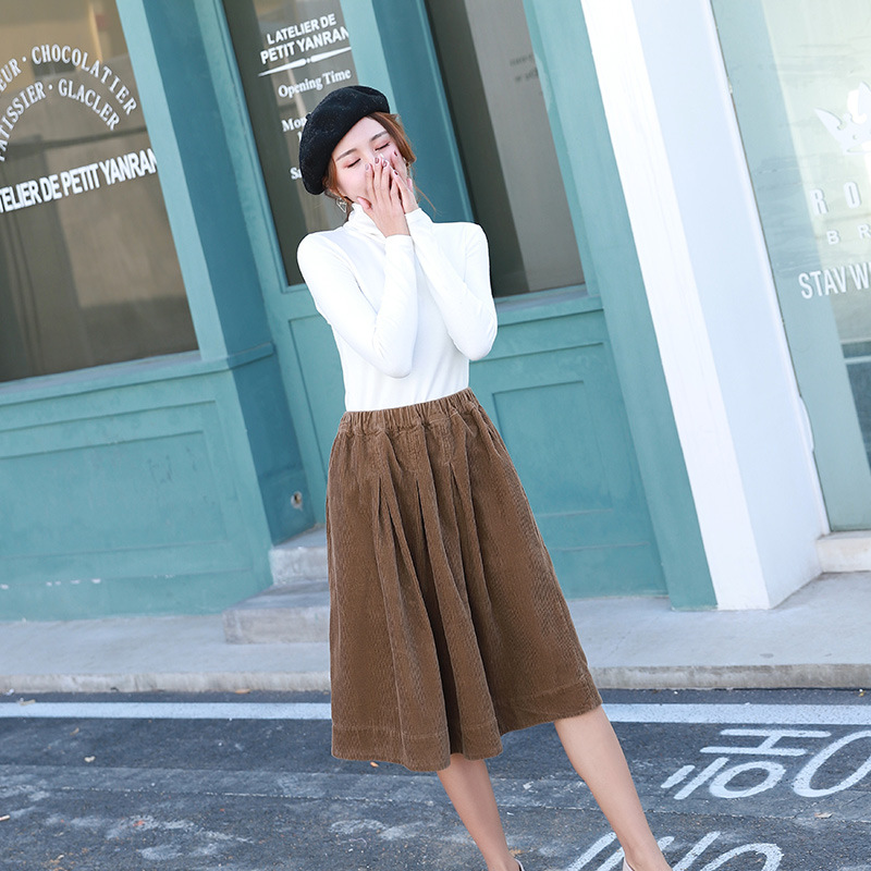 2019 New Style Skirt Autumn And Winter Mid-length Over-the-Knee A- Line Skirt Corduroy Retro INS Super Fire Skirt WOMEN'S Dress