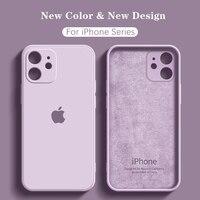 Con LOGO custodia liquida originale ufficiale per iphone 11 12 Pro Max SE 2020 Silicone per iPhone XR XS MAX X 8 7 Plus cover custodie