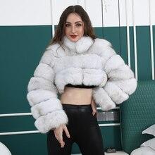 Natural curto real casaco de pele de raposa para as mulheres com gola grossa quente inverno genuíno casaco de pele de raposa de alta qualidade casacos de pele