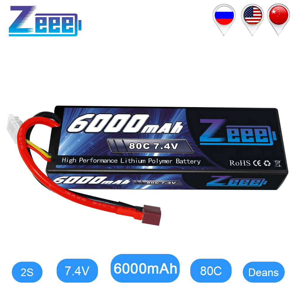 Zeee 6000mAh RC LiPo Battery For RC 2S 80C LiPo 7.4V With Deans T Plug For RC Car Vehicle Truck Tank Losi Traxxas Slash Truggy