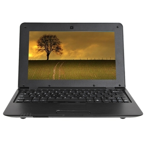 HD Portable 10.1Inch Quad Core Android System Without Optical Drive Mini Black Laptop Netbook(US Plug)