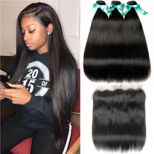 BEAUDIVA Straight Brazilian Hair Bundles With Frontal 100% Remy Human Hair Weave 3 Bundles with Frontal Swiss Lace Closure