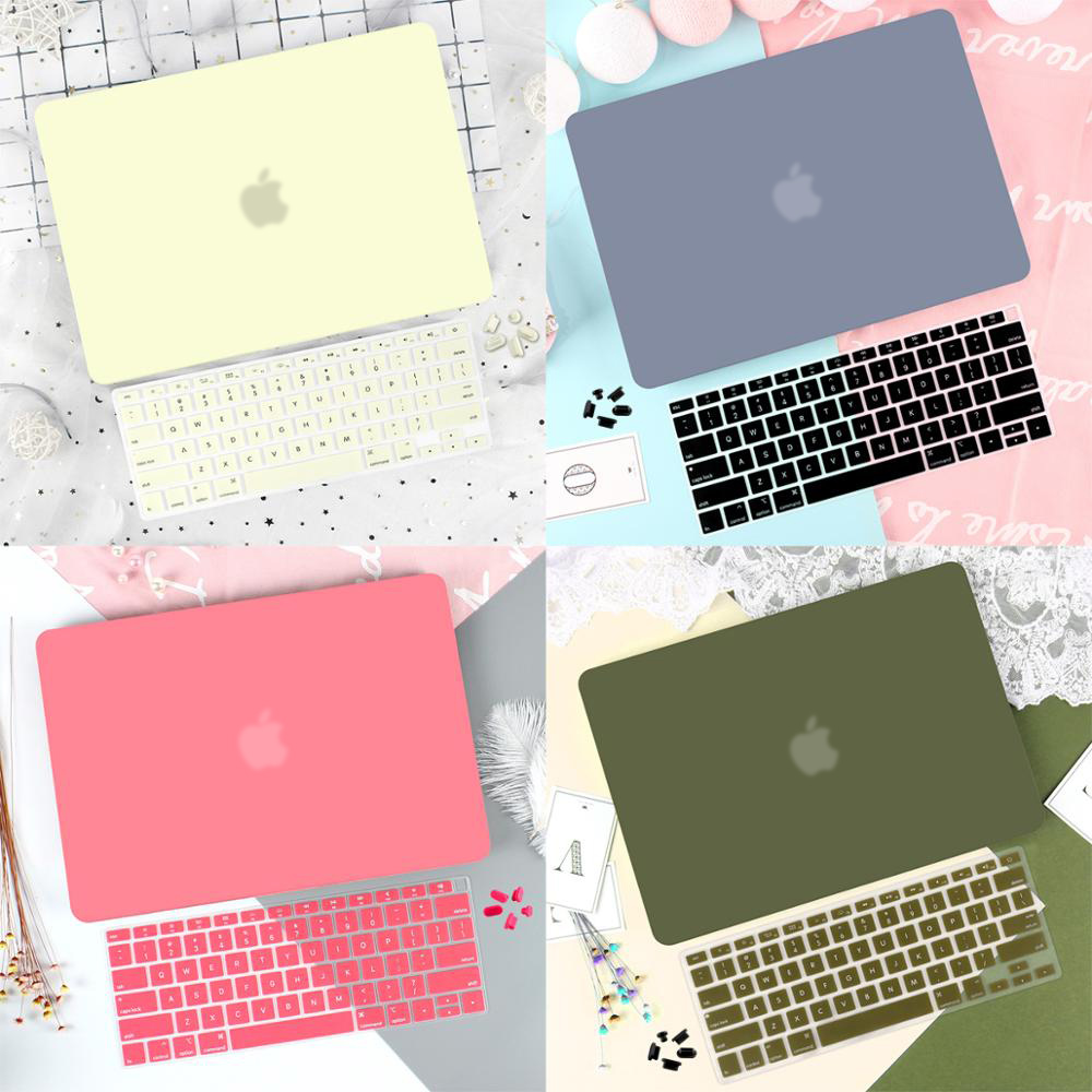 4 in 1 Laptop Case for MacBook Air 11 13 inch & Pro Retina 13.3 15 2019 2018 2017 Crystal Matte Hard Shell Cover Keyboard Skin image