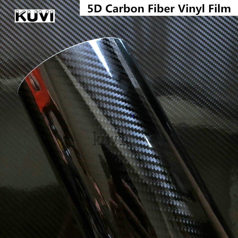 152CM PVC 5D Fiber de carbone feuille de vinyle Film d'enveloppe de voiture rouleau autocollant décalque noir bricolage imperméable à l'eau tous temps adhésif ruban arrière nouveau