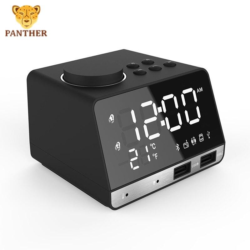Новый беспроводной Bluetooth динамик цифровой будильник светодиодный дисплей температуры с 2USB портом поддержка AUX TF карта FM радио - 6