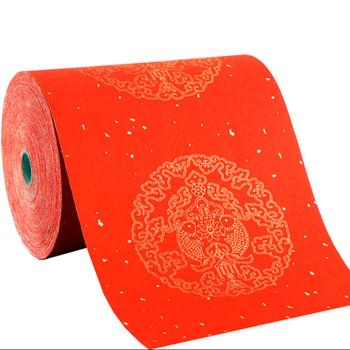 Chiński wiosenny festiwal Couplets czerwony papier ryżowy nowy rok cięcie papieru specjalny papier Xuan 100m kaligrafia szczotka pół-dojrzały Xuan tanie i dobre opinie CN (pochodzenie)