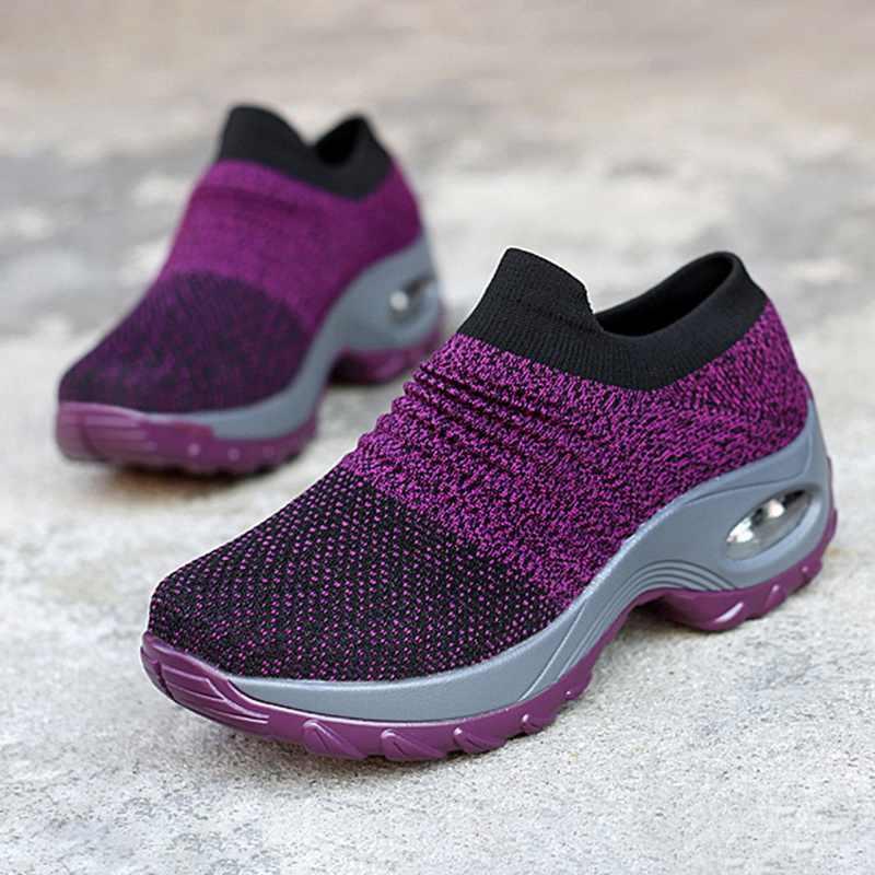 Kadın ayakkabı moda nefes örgü rahat ayakkabılar platformu Sneakers erkekler platformu Slip-On Sneakers yürüyüş koşu ayakkabıları