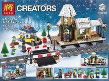 크리스마스 도시 겨울 마을 역 빵집 시리즈 캐리지 하우스 빌딩 블록 아이들을위한 벽돌 선물 완구 친구 10259
