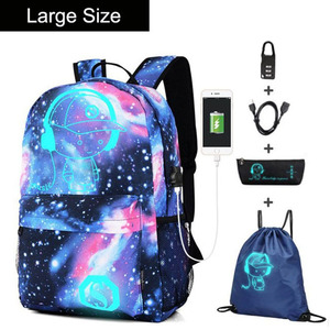 Image 5 - Anime Luminous Oxford School Backpack Daypack Shoulder Under 15.6 inch with USB Charging Port and Lock School Bag for Boys Girls