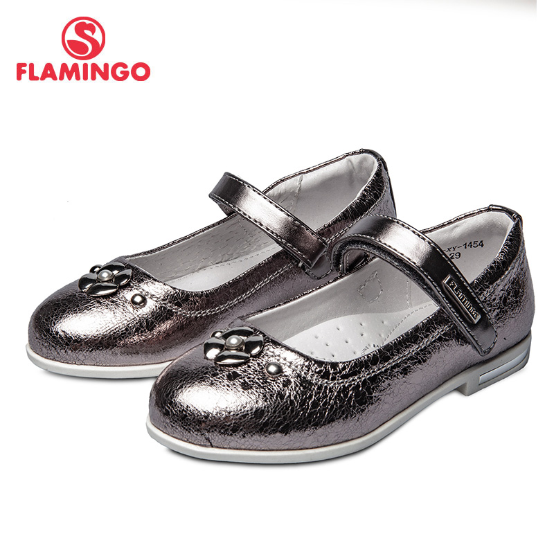 School shoes Flamingo 92T-XY-1454/55 shoes for girls leather insole shoes for children 26-31 # flamingo new children shoes spring