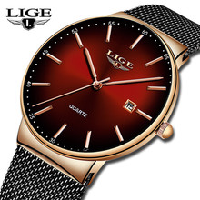 LIGE Top Brand Luxury New Watches Mens Ultra Thin Stainless Steel Waterproof Spo