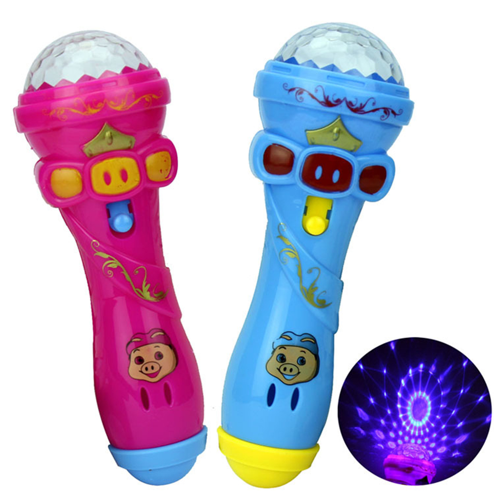 1PC LED Flashing Karaoke Singing Microphone Pig Toy Sky Stars Projection Ball Light Kids Magic Stick For Children Funny Gift