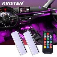 Luz LED RGB para Interior de coche, Lámpara decorativa automotriz remota inalámbrica, luz ambiental automática, luz de pie de carga