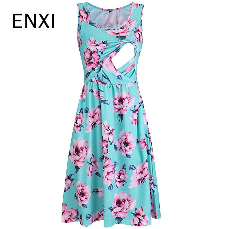 ENXI Floral Print Maternity Dresses Sleeveless Breastfeeding Dress Nursing Pregnancy Dress Long Vestido