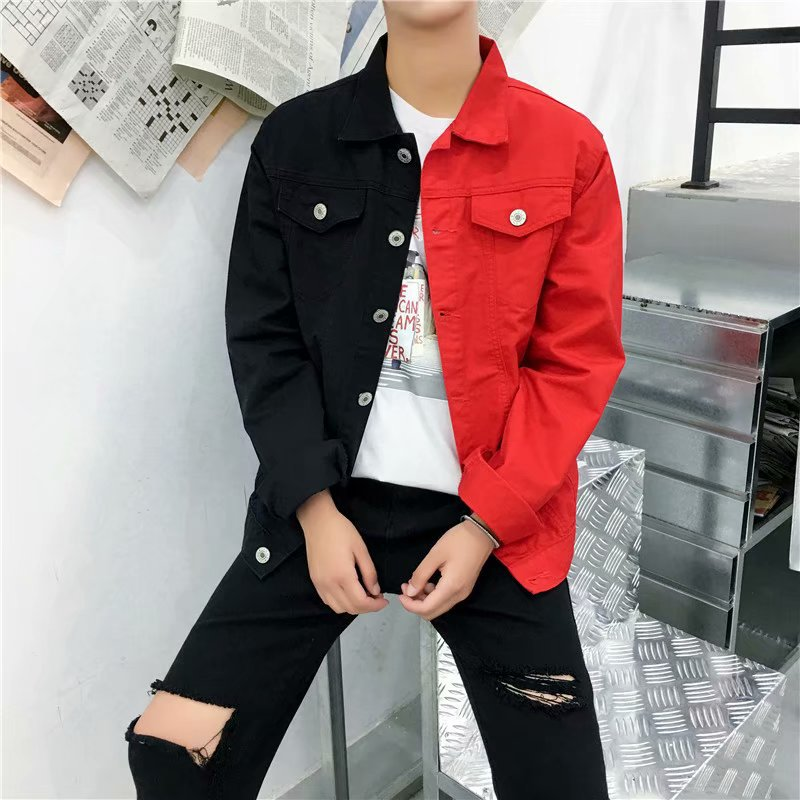 2019 Autumn Fashion Men's Cultivate One's Morality Joker Color Matching Jacket Double Color Stitching Denim Jacket
