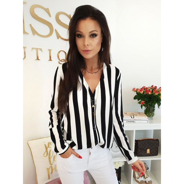 Fashion Hot Sale Summer Elegant V Neck Button Blouse OL Casual Loose Tops Sexy Women Striped Vintage Shirt 6