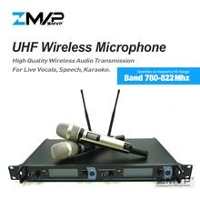 2050 Профессиональный UHF беспроводной микрофон караоке система с золотым цветом двойной ручной передатчик микрофон