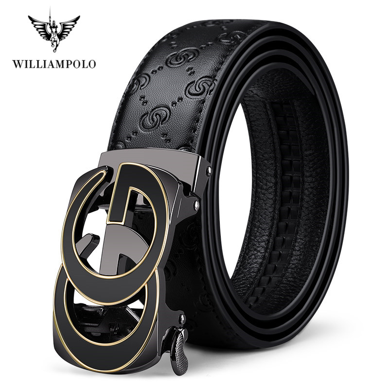 Full-grain Leather Fashion Automatic Buckle Black Genuine Leather Belt Men's Belts Cow Leather Belts For Men 3.5cm Width