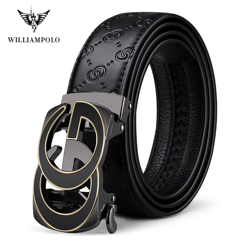 Full-grain Leather Fashion Automatic Buckle Black Genuine Leather Belt Men's Belts Cow Leather Belts For Men 3.5cm Width