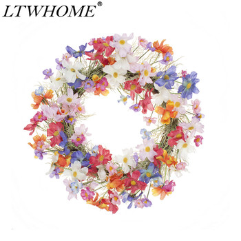 LTWHOME 22.5 Inch Handmade Spring Summer Wreath with Multicolored Tiny Flowers for Front Door, Wall, Mantelpiece, Model: WHCHL
