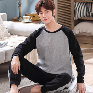 Image 2 - Yidanna cotton pijama set for men Tshirt O neck plus size underwear long sleeved pajama sleepwear clothing winter nightwear male