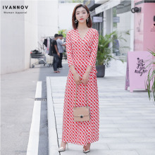 Women Wrap Dresses Slim Waist Bohemian Beach V-neck Chain Print Three-quarter Sleeve Ladies Elegant Sexy Dress Clothes plus waist belted wrap chain print dress