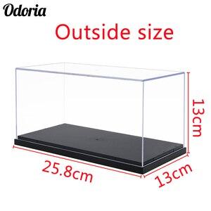 Image 1 - Odoria 24.8x12x11.5cm akrilik vitrin kutusu plastik taban toz geçirmez eylem şekilli kalıp otomobil araç Pop koleksiyon bebekler
